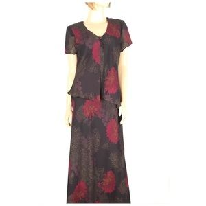 Floral Maxi Dress with Attached Asymmetrical Cover